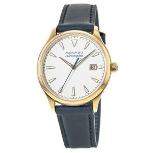 New Movado Heritage Calendoplan White Dial Leather Strap Women's Watch 3650034