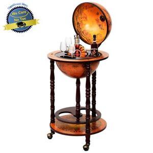 Old Italian Style Globe / Map Mini Bar Wine Liquor Cabinet Storage ...