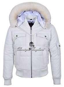3d6f77eca2 Mens White Hooded Bomber Jacket Puffer 100% Real Classic Leather ...