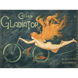 Massias-Gladiator-Cycles-Nude-Woman-Advert-Canvas-Art-Print-Poster