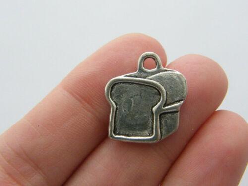 6 Bread charms antique silver tone FD295
