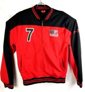 Seven7-Vintage-Men-XLarge-XL-Jacket-USA-Red-Black-Zipper-USA-Flag