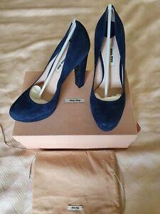 Miu Miu Shoes | Jeweled Heels Blue Suede | Poshmark
