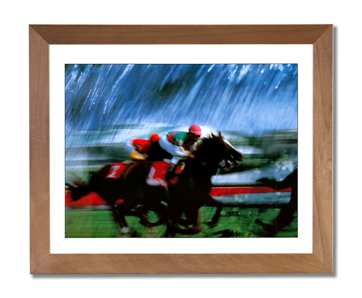 Horse Racing Grass Turf Jockey Animal Wall Picture Honey Framed Art Print