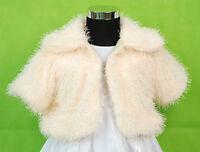 New Girls Cream Faux Fur Bolero Coat Available in 2-3 3-4 4-5 Years