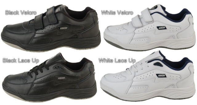 Mens New White / Black Wide Fitting Leather Trainers 7 - 14