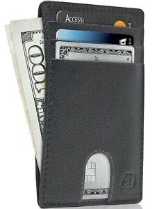 Leather Slim Minimalist Front Pocket Cardholder Wallets For Men RFID Blocking