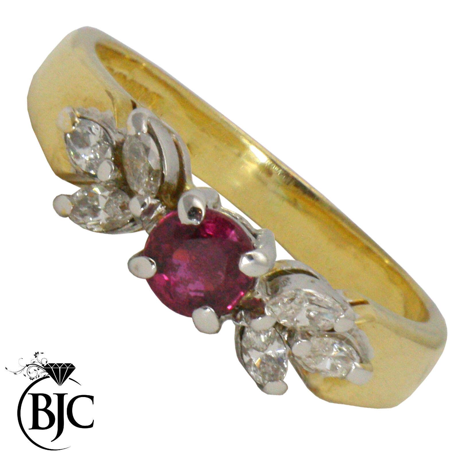 Bjc 18ct gold yellow Rubino e Diamante Solitario Misura J Fidanzamento Abito