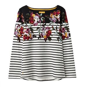 Joules-Harbour-Print-Women-039-s-Long-Sleeve-Jersey-Top-Black-Peony