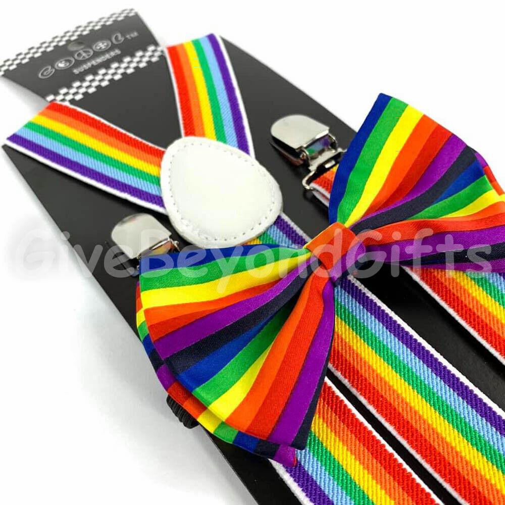 Suspender and Bow Tie Adults Men Rainbow Stripe Wedding Formal Wear Accessories