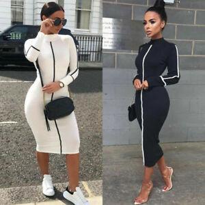 Womens-Long-Sleeve-Bodycon-Midi-Dress-Ladies-High-Neck-Party-OL-Work-Slim-Dresse