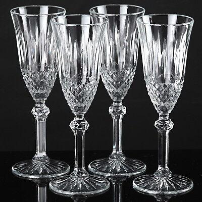 4 schöne alte Sektgläser Sektkelche Gläser Vintage Bodenstern Trinkgläser