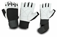 WEIGHT LIFTING PADDED LEATHER GLOVES FITNESS GYM VELCRO WRIST SUPPORT STRAPS