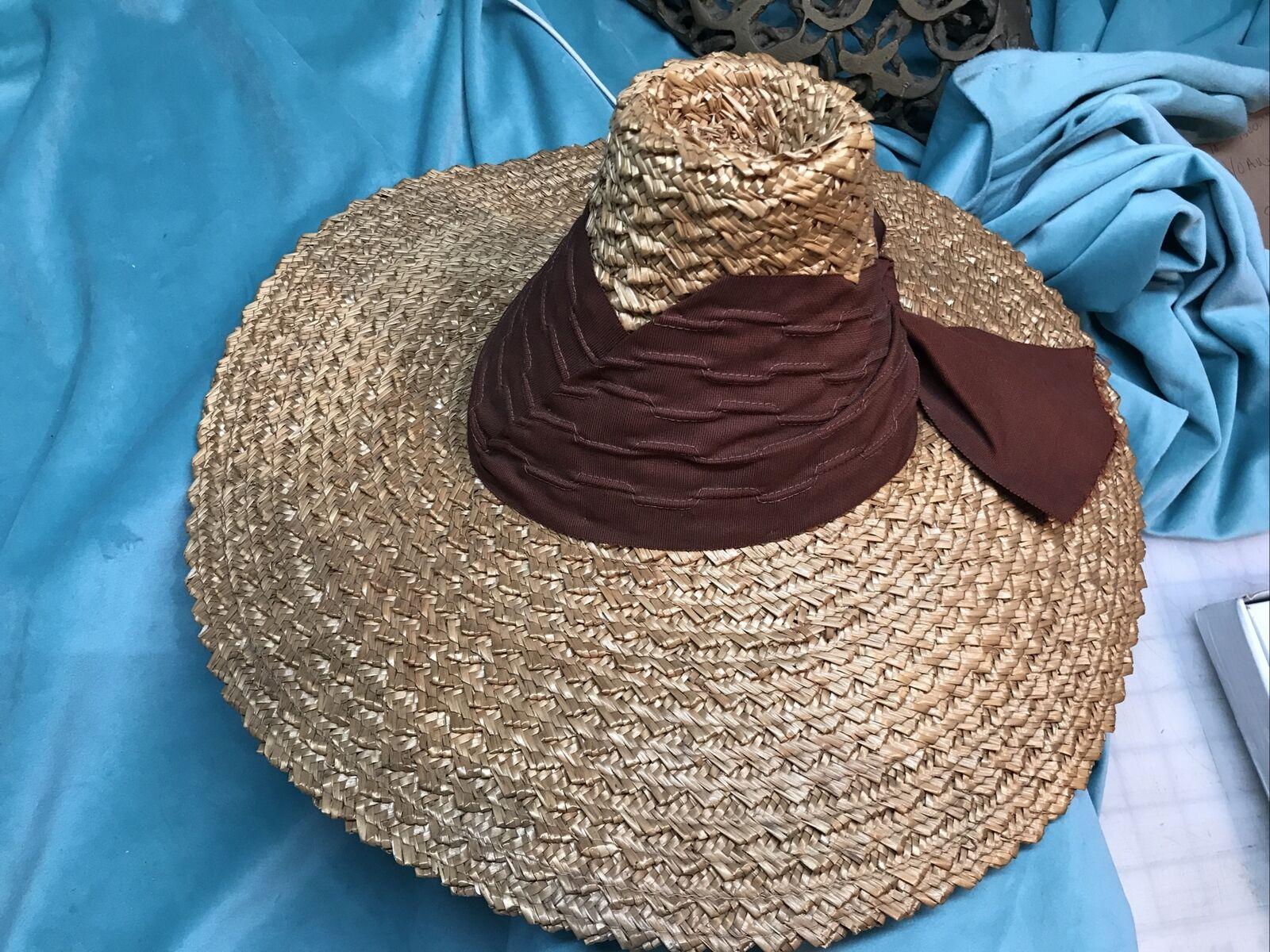 vintage straw hat 1930s 1940s 40s Tilt Wide Brim … - image 4