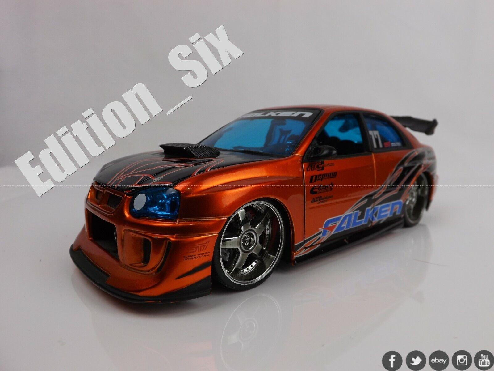 Jada Toys 1 24 SUBARU IMPREZA WRX STI Falken tyres orange Jdm sports car