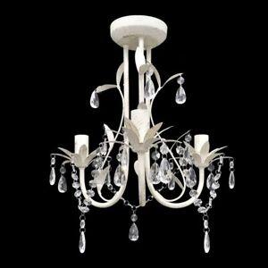 vidaXL-Crystal-Pendant-Ceiling-Lamp-Chandelier-Elegant-White-Lighting-Fixture