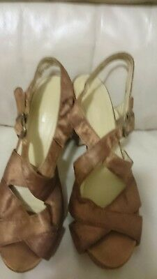 H&M Cobre Marrón Seda/Satén Look Tacón Alto Zapatos de plataforma size UK 4 EUR 37
