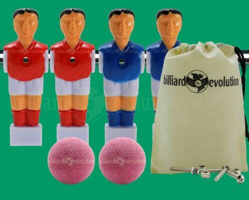 "4 Red//Blue Shirts//Socks Foosball Men for 5//8/"" Rod+2 Red Foosballs+Screws//Nuts"