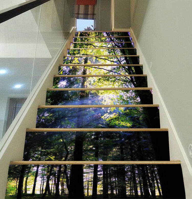 3D Wald Holz 169 Stair Risers Dekoration Fototapete Vinyl Aufkleber Tapete DE