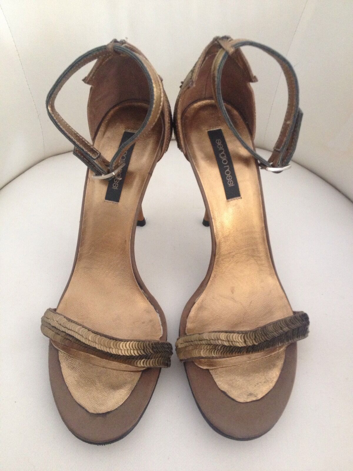 SERGIO ROSSI Bronze Sequin Ankle Strap High Heel Sandals