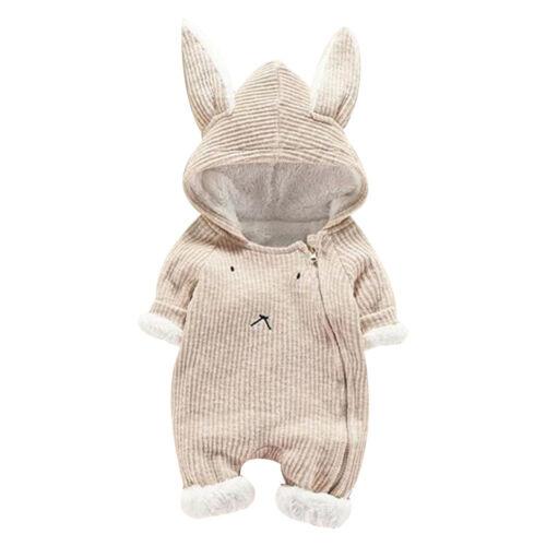 Newborn Infant Baby Boy Girl Romper Hooded Jumpsuit Bodysuit Toddler Outfits VT
