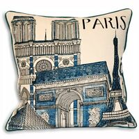 PARIS City Cushion Cover Cream With Teal & Black Edge and Images 45cm x 45cm
