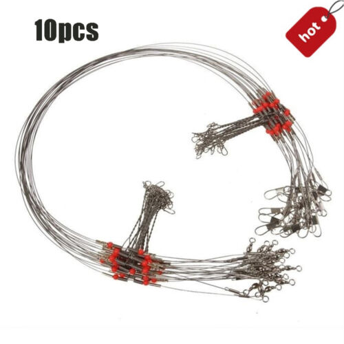 10 Pcs Fishing Wire Line Leader Trace With Snap Safety Snaps Rope Wire Fish Hoop