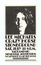 Lee Michaels Crazy Horse Stoneground 1971 Jul 31 Sacramento Memorial Handbill