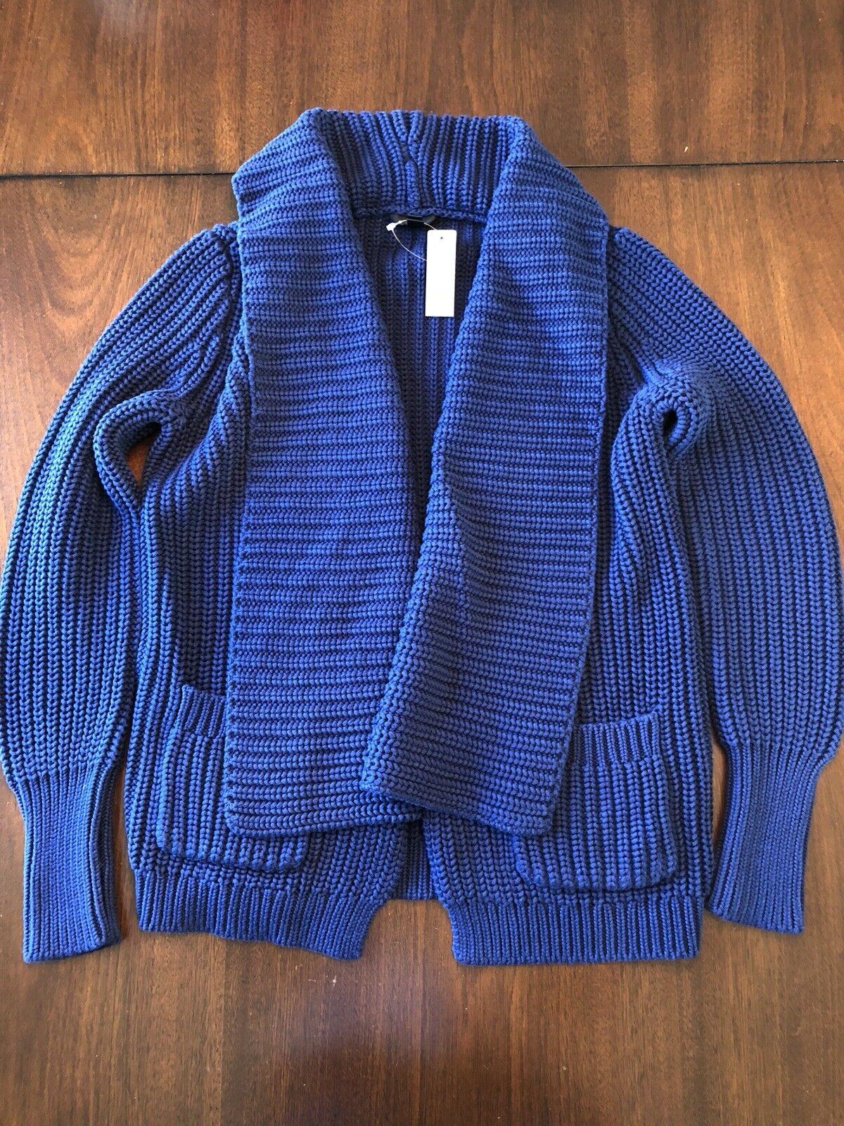 NWT JCrew Women's Navy Rib-Stitch Open Cardigan Chunky Knit Sweater bluee Sz S