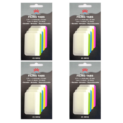 4A Durable File Tabs 1 1//2 x 2 Inches Page Marker Index Label Flag Total 96 Tabs