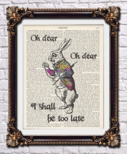 Alice in wonderland vintage dictionary art prints Mad cheshire cat quotes hatter