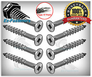 """Stainless Steel Deck Screws Type 17 Bugle Head Square Drive #8x2-1/2"""" Qty 1000"""
