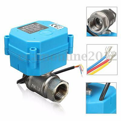 Stainless Steel 1/2'' NPT Electric Motorized Ball Valve DC24V DN15 2-Way 3-Wire