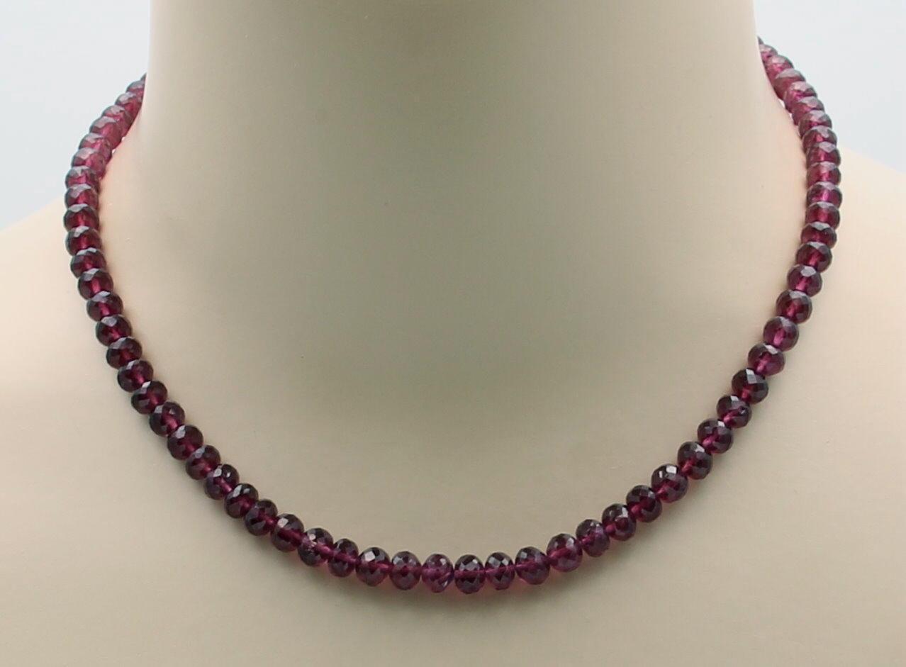 Granat-catena-Rhodolith-Granat Sfaccettate Collana per Donna 44 5 cm cm cm 123441