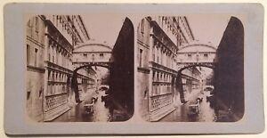 Venezia Pont Dei Sospiri Italia Foto Stereo Vintage Albumina