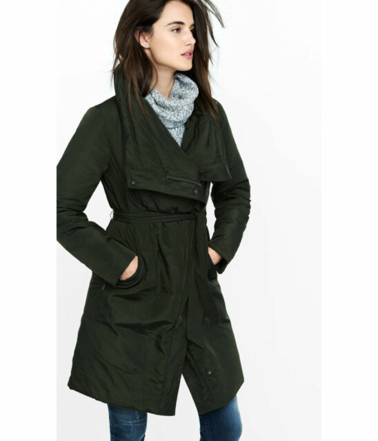 0f2f24649a2 NEW EXPRESS  228 OLIVE DOWN FILLED CROSSOVER COLLAR BELTED PUFFER COAT SZ L