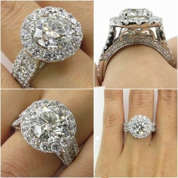 Big Stone Round Cut Vintage Halo Engagement Ring 9K White gold