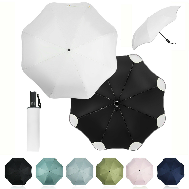Windproof Automatic Rounded-Corner Rain Umbrella Sun Folding Blunt Umbrella
