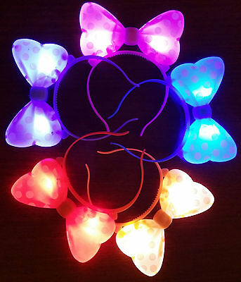 1 LIGHT UP MINNIE MICKEY MOUSE BOWS POLKA DOTS HEADBANDS FAVOR PARTY EARS