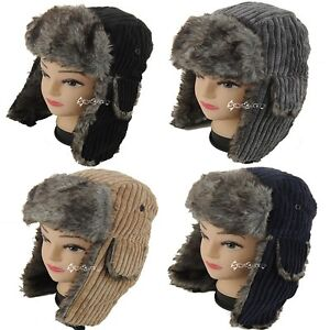 Mens Ladies Corduroy Trapper Style Hat Faux Fur Lined Winter Gift ... 8804438dc21