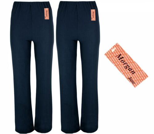 LADIES PACK OF 2 FINELY RIBBED BOOTLEG STRETCH TROUSERS SIZES 10-26 NAVY mpbj
