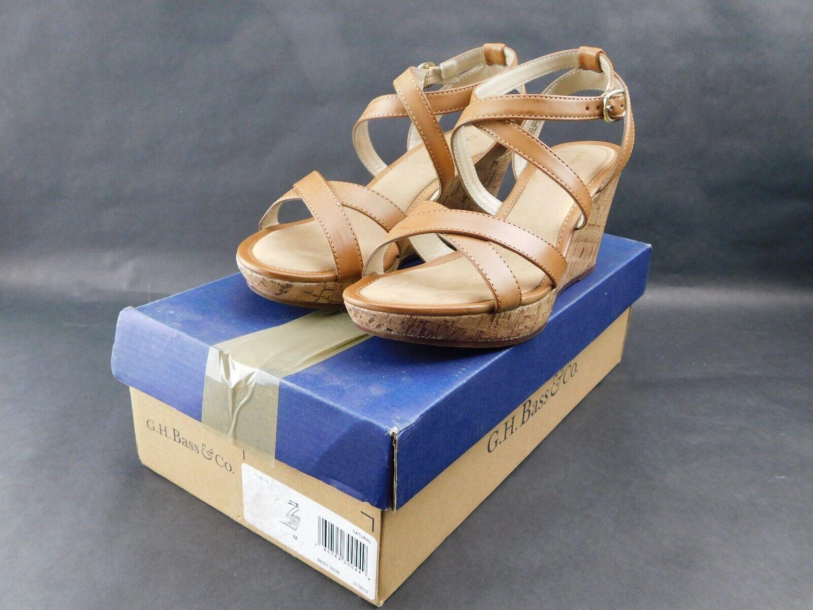 GH Bass NWB Chacha Wedge Tan Sandals 3  Heels Women's  Size 7M