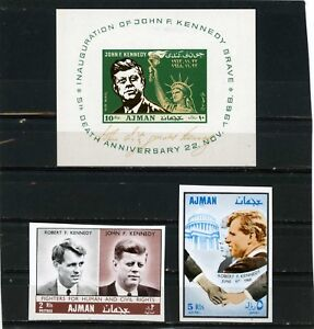 Image Is Loading AJMAN 1968 FAMOUS PEOPLE BROTHERS KENNEDY SET OF