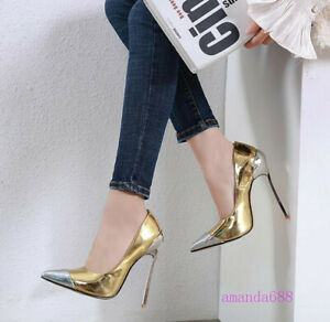Women/'s Patent Leather Pointed Toe Stilettos High Heeled Dress Party Pumps Shoes