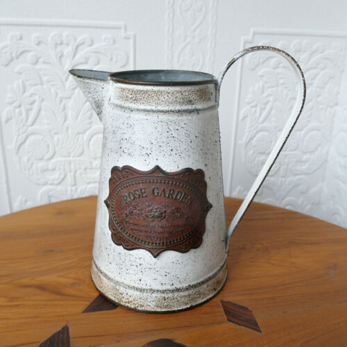 Milchkanne Blechkanne Kanne Vase Emblem Rose Garden Landhausstil Shabby Deko