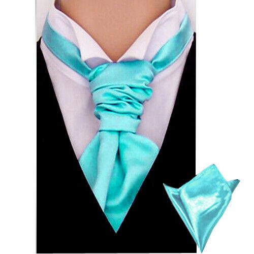 New Italian Plain Satin Cravat For Men With Pocket square Over 26 Colours