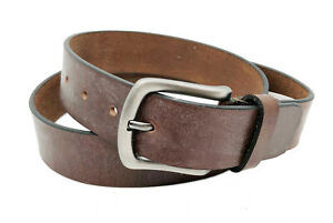 BROWN-FULL-GRAIN-Buffalo-Leather-Mens-1-5-034-Belt-Strap-Buckle-Casual-Jeans