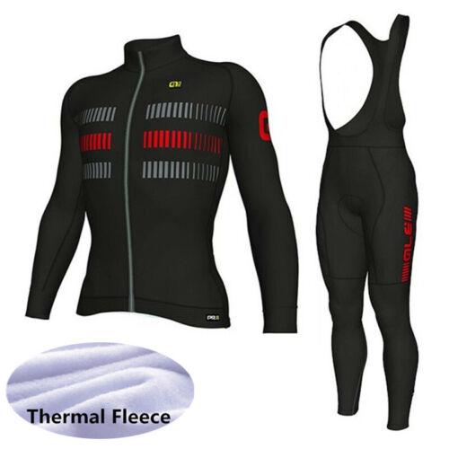 Winter Men Cycling Jersey Set long sleeve thermal fleece bike tops bib pants Kit