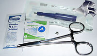 Dermal Piercing Kit 2 - 1.5mm Punch, Clear Gem Jewelry, Forcep, Alcohol Pad, A+d