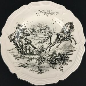 Dinner-Plate-by-Tabletops-Unlimited-New-England-Toile-Coaching-Black-and-White